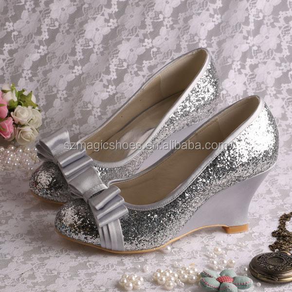 talon compens argent glitter chaussures de marie mariage - Chaussure Mariage Compense