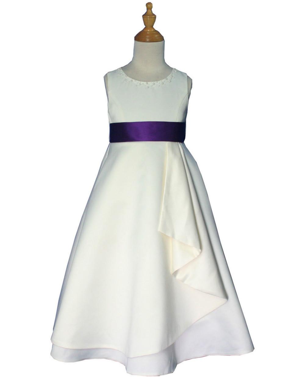 слоновой кости & Фиолетовая атласная конкурс Цветочница платье 2 4 6 8 10 12 лет