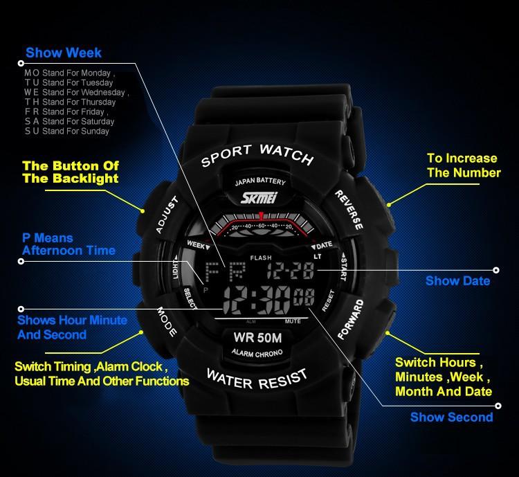 Мужские спортивные часы военные часы привел цифровые многофункциональные электронные погружение водонепроницаемый случайные наручных часов новейших