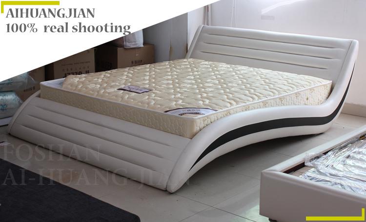 Cama de cuero moderno cuero genuino camas modernas el ltimo