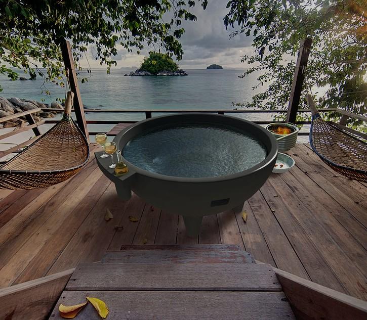 jardin ext rieure ronde spa baignoire n erlandais bain. Black Bedroom Furniture Sets. Home Design Ideas