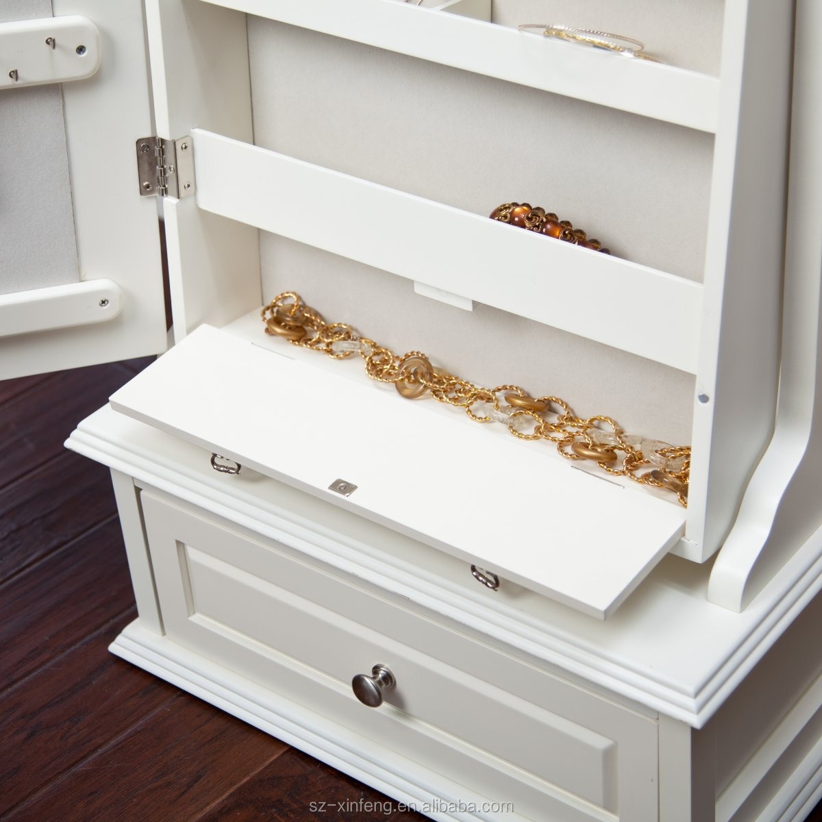 Aparadores Olaio ~ De transición cheval espejo cajón de armario de la joyería con base de bloqueo Otros Muebles de
