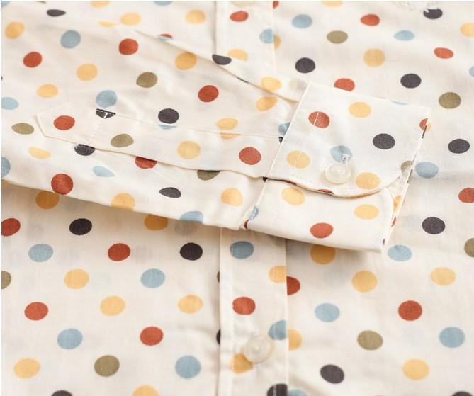 2016 Plus Size Polka Dot Bawełna Kobiety Bluzki Koszule Długie rękaw Kobiety Koszule Turn Down Collar Bawełna Dorywczo Koszula Kobiet topy 15