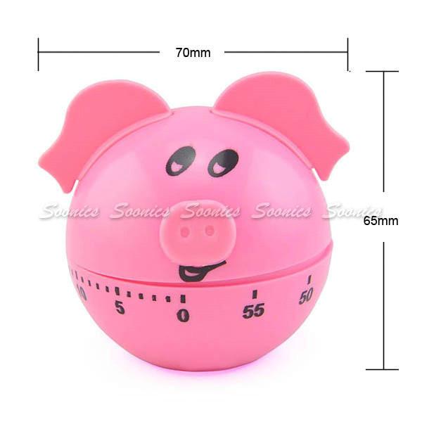 милый мультфильм Розовая Свинья кухня приготовления dial таймер 60 минут & drop доставка 2шт/лот