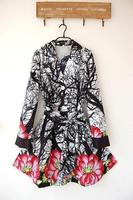 Женский тренч Fashion women Spring Trench Design Desigual Thin wind coat black white Art Flowers WT4060