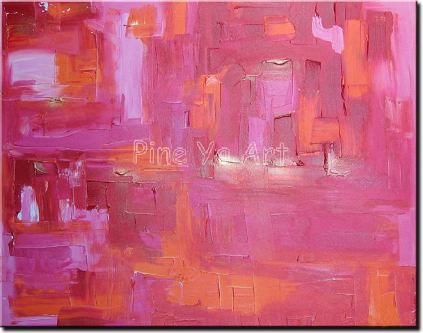 Buy Abstract modern large canvas wall art handpainted decorative pink Knife paint oil painting on canvas for living room decoration cheap