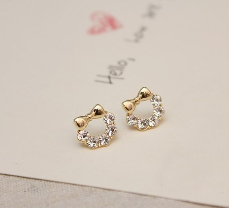 At Least $8 (can mix order) Factory Direct Sale Lovely Brief Alloy Created Diamond Bownot Stud Earrings free shipping G0113