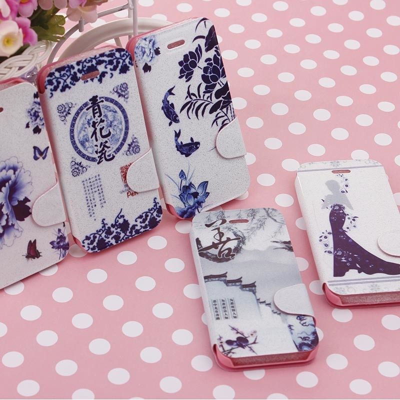 2014 new fresh flower white phone leather case cover for apple iphone 5 5c 5s