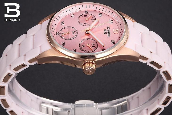 Новый Кофе Коричневый Часы Женева Розовое Золото Секундомер Женщин Кварц Япония Наручные Часы Бингер Дата Календарь 24 Часов Часы