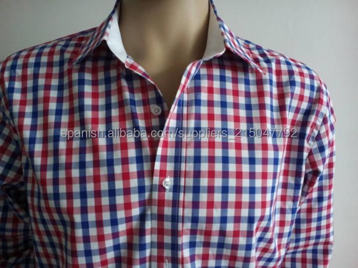 para hombre de la marina de algodón camisas de algodón a cuadros ...