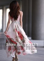 Коктейльное платье Women Cocktail Chiffon Floral Dresses Long Bohemia Maxi Sleeveless