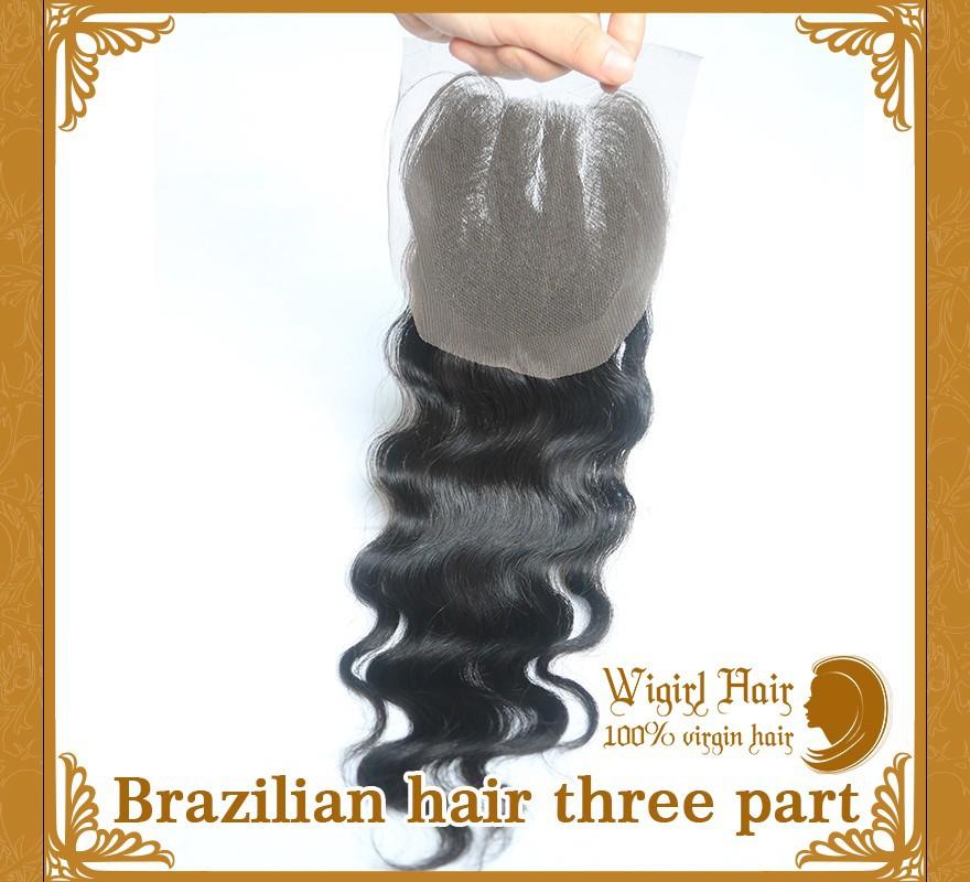 3 часть кружева закрытие бразильский натуральные волосы обесцвеченные knots тела волны Королева плести красоту волос доставка бесплатно