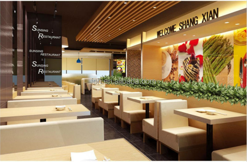 Modern Fast Food Restaurant Furniture Booth Seating And