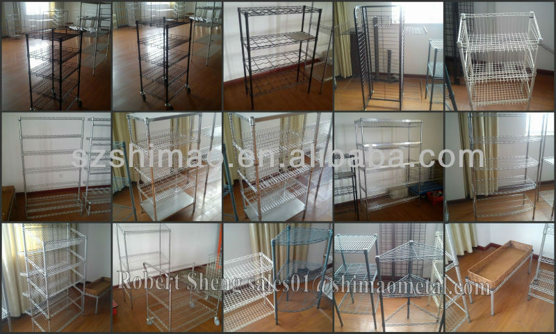 NSF Chrome home decorative wire shelving , wire shelves, chrome slant wire shelving