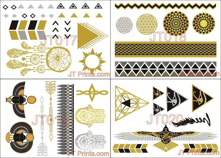 Mix color gold metallic fashion flash temporary tattoos for Gold foil tattoo