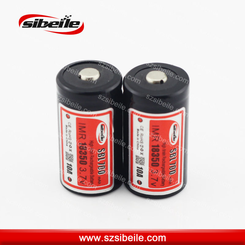 Sibeile IMR 18350 battery 30A high drain 3.7V 700mAh battery for ego-twist IMR 18350 li-ion battery button/top
