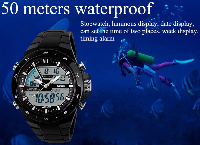 Skmei Quartz LED Watch with Dual Movt Day/Date Design Round Dial and Steel Watch Band