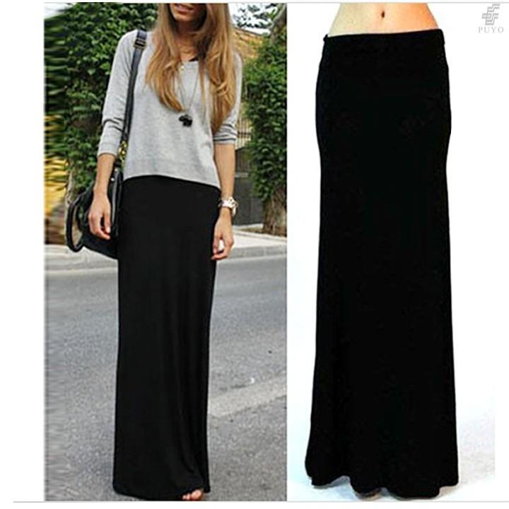 новые ретро черные упругие талии богемный принцесса шифоновые длинные юбки модные женские юбки 19048
