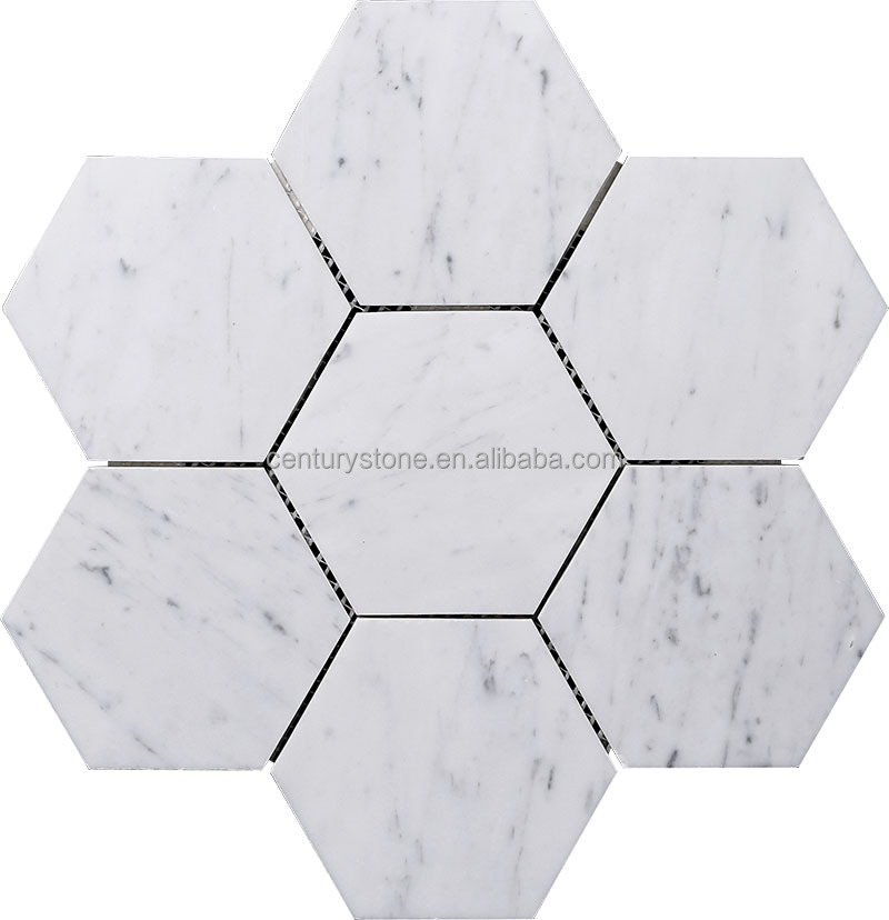 New Floor Tile Design 10 Inch Hexagon Mosaic White Carrara