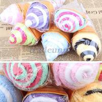 Портативный двойной цвет милые мягкие стиральные полотенце в форме пользу подарок мороженое