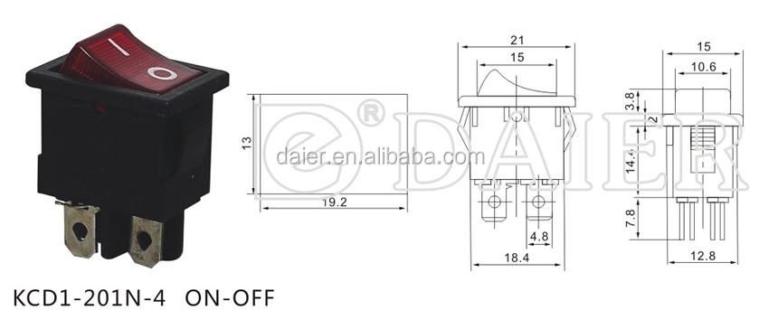 Kcd1-201n-4 On-off 220v Illuminated 4 Pin Lamp Rocker Switch