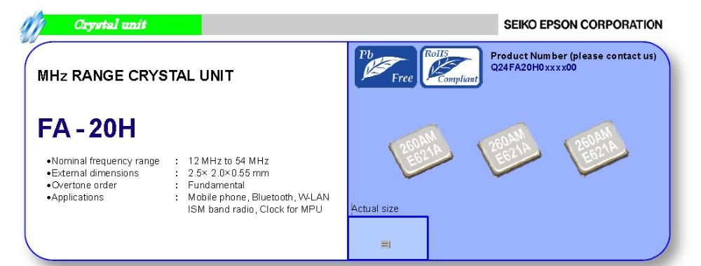 e p сын fa - 20h серии smd кристалл 38.4 МГц 38,4 м резонатор 38.4 МГц 38.400 МГц 2520 2,5 * 2,0 2,5 мм * мм 2.0 2.5 2.0