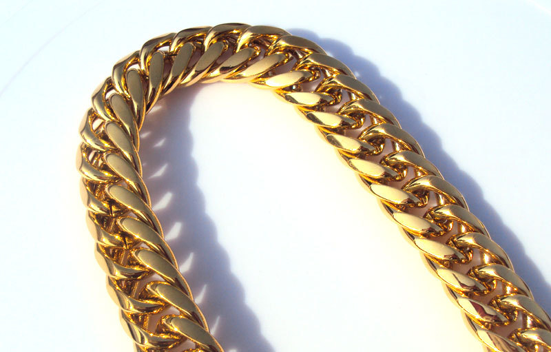 Best Quality Wholesale Heavy Mens 24k Solid Gold Filled Finish Thick