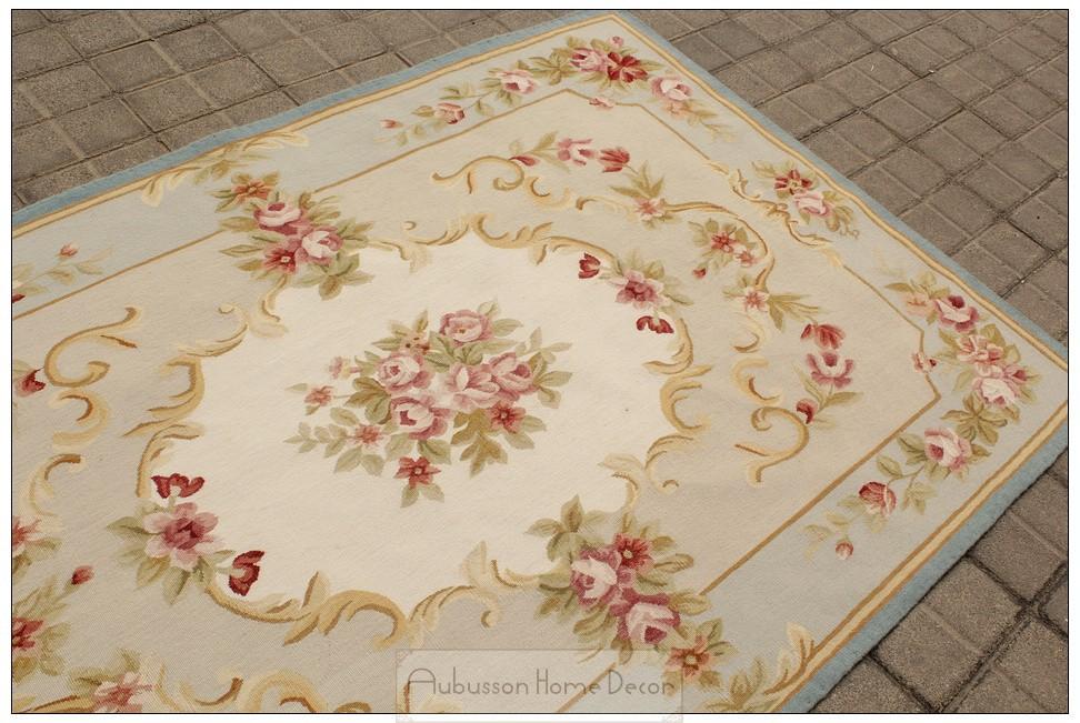 frei schiff 4x6 aubusson teppich blau w chic rosa rosen. Black Bedroom Furniture Sets. Home Design Ideas