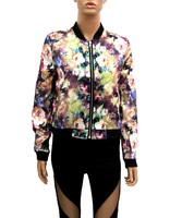 Женская куртка NEW JACKET RETRO PRINT STAND-UP COLLAR SHORT SECTION CASUAL LONG-SLEEVED JACKET WF-421896