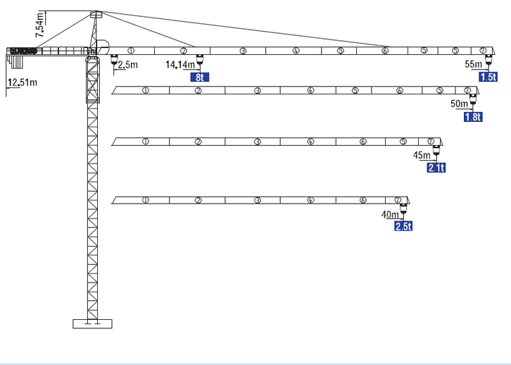XCMG China new luffing tower crane QTZ100(5515Y-8)