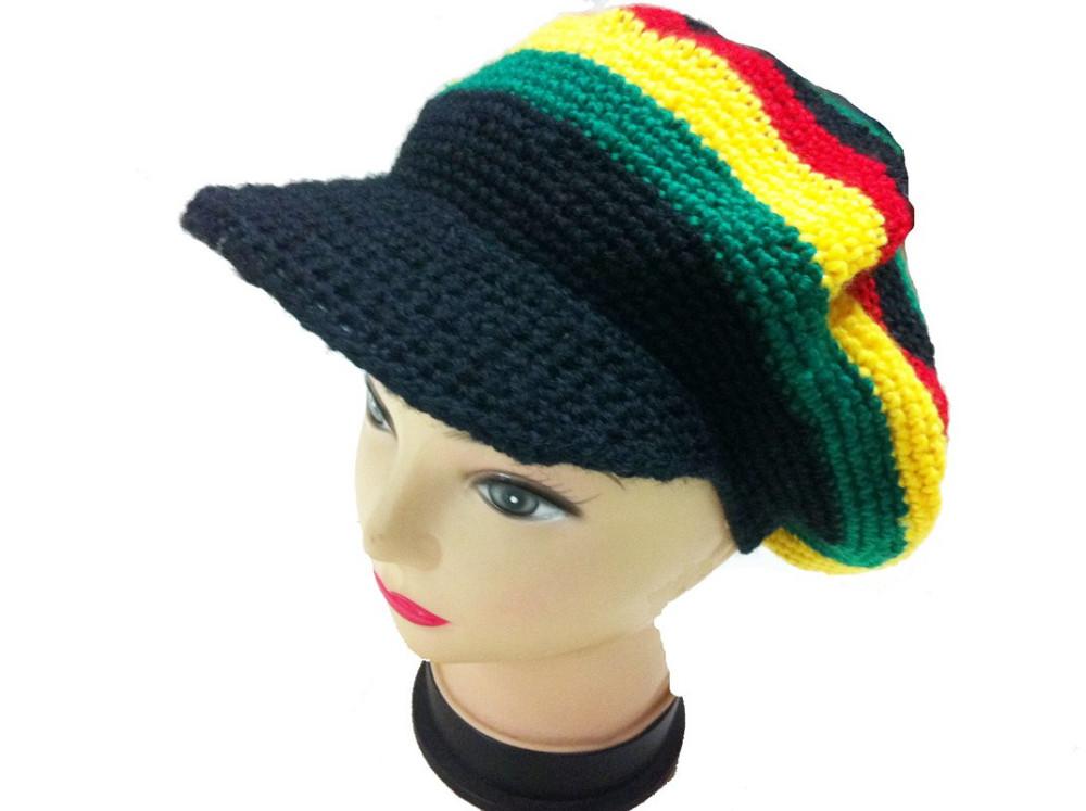 Großhandel Mode Gestrickte Jamaikanische Rasta Visor Hut Häkeln ...