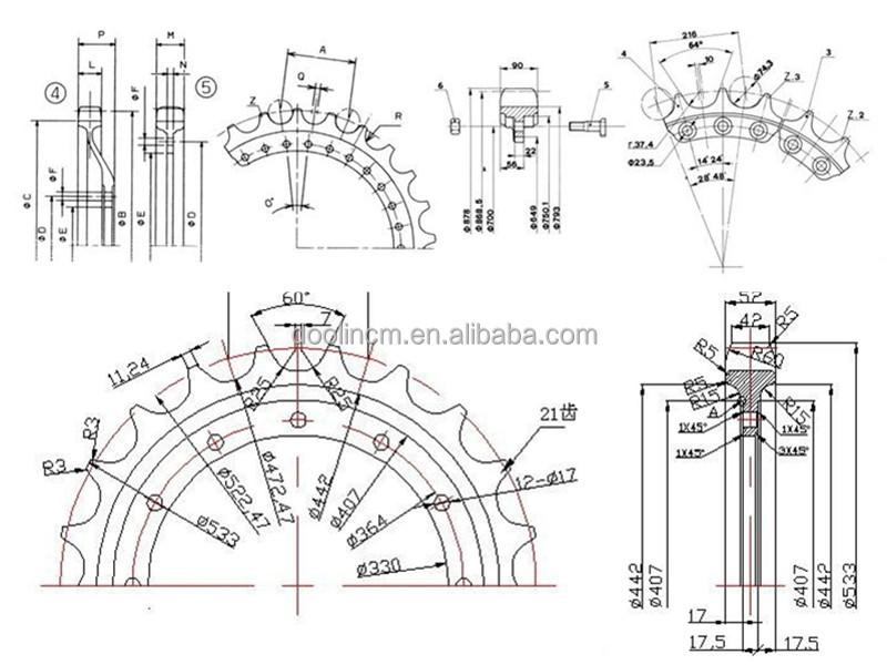 bulldozer undercarriage spare parts sprocket segment d4
