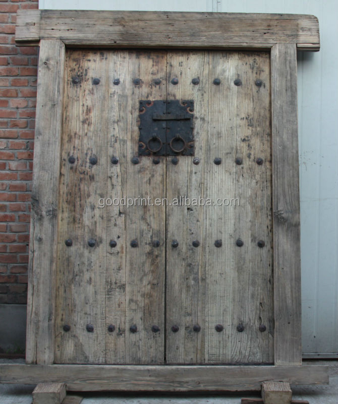 Chinese antique natural shanxi recycle elm wood folding for Reuse old wooden doors