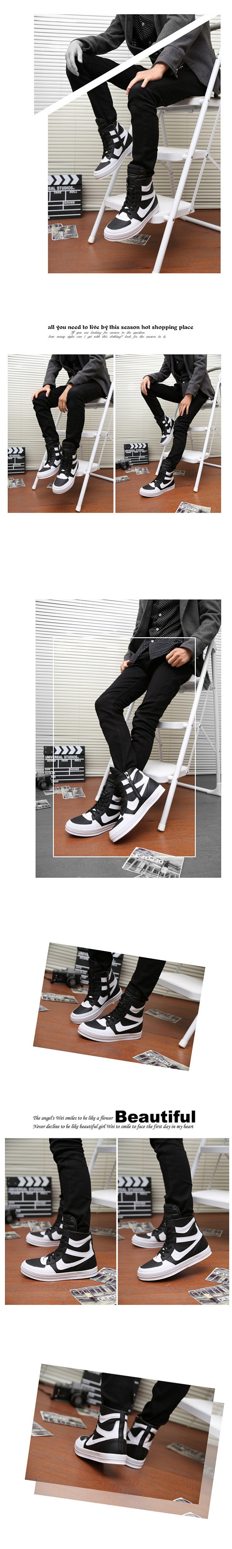 Free Shipping 2015 new fashion rick owen leather high-top male casual shoes side zipper rivet men\`s ankle boots flats Punk shoes-1 (16)