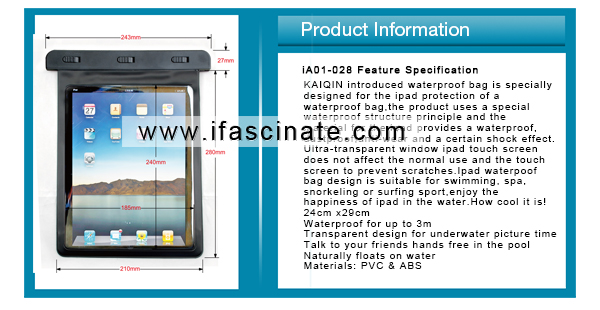 waterproof PVC bag for ipad/clear window beach bag