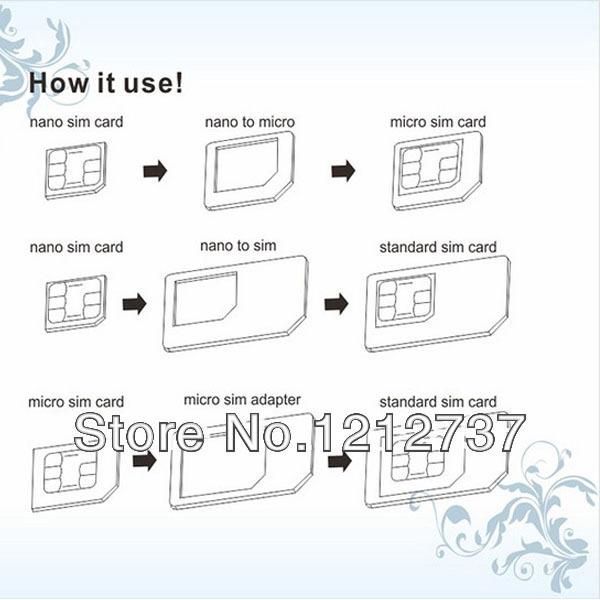 חם למכור 4 ב 1 ננו-מיקרו מיני כרטיס ה Sim-מתאם לאייפון 5 , משלוח חינם