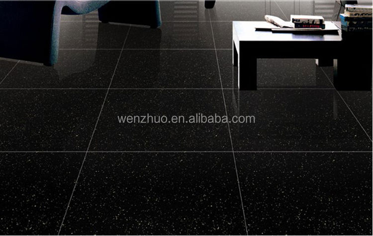 Shiny black floor tiles