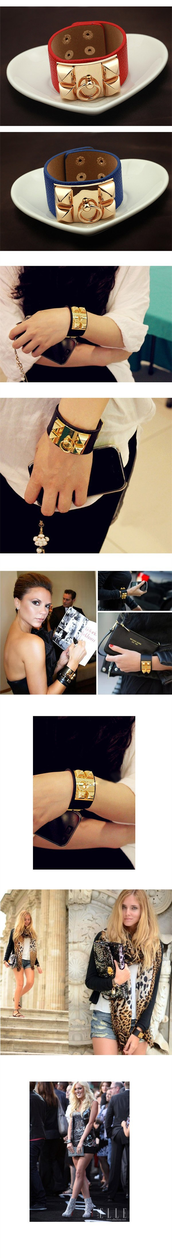 Браслет KPOP Style Statement Jewelry For Women And Men Super Wide Leather With Gold Plated Bracelets & Bangles SBR140121