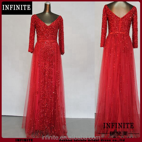 Suzhou INFINITE real sample long 3 4 sleeves v neck backless sequins beaded red real sample evening dress