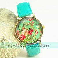 Наручные часы In Stock New Leather Strap Woman Geneva Watch Simple Elegant Plum Blossom Chrysanthemum Rose Lily Flowers Design100pcs/lot
