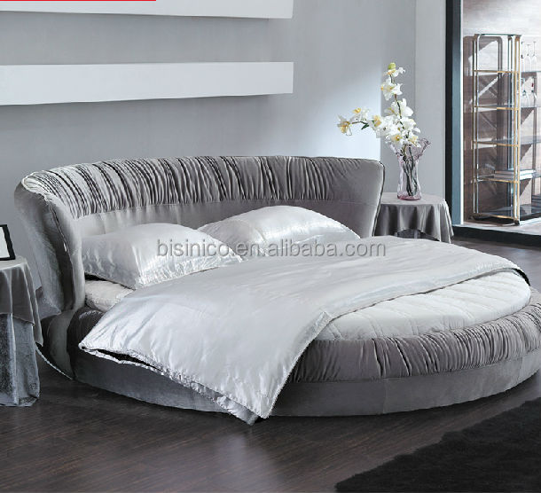 nouveau mod le bisini haut grade tissu gris de lit rond lit double literie id de produit. Black Bedroom Furniture Sets. Home Design Ideas