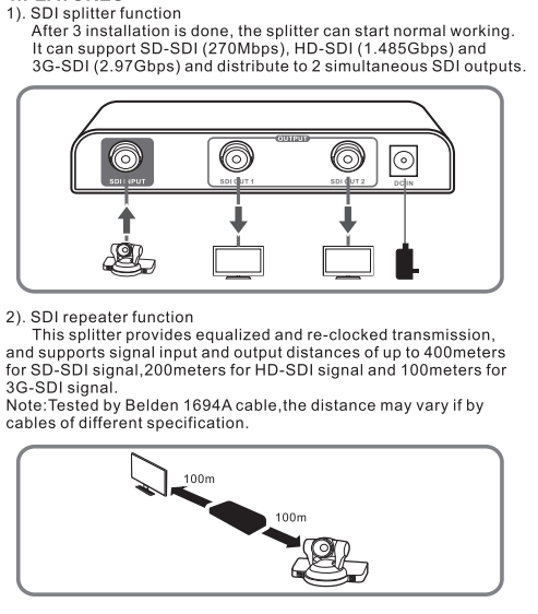 2 ports SDI splitter, broadcast device.SD-SDI,HD-SDI,3G-SDI auto detected