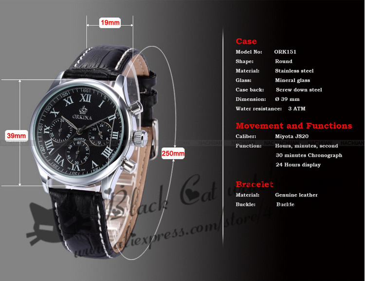 2016 Продажа Часы Blackcat Новый Orkina Марка Часы Кожаный Ремешок Кварц Мода 30 М Водонепроницаемый Мужчины Наручные Часы P0031