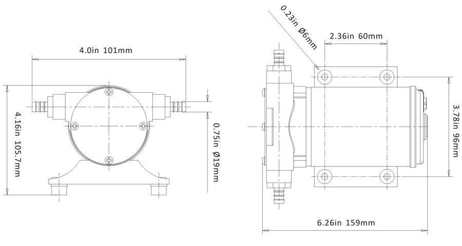 singflo 12v flexible impeller pump