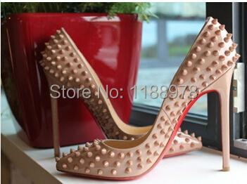 black spiked red bottom heels