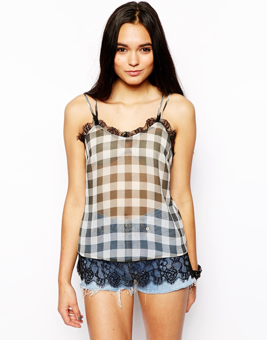 Lace Trim Cami Top in Gingham