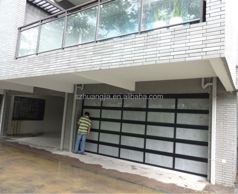 Sectional aluminum frame glass cheap garage doors view for Sectional glass garage door