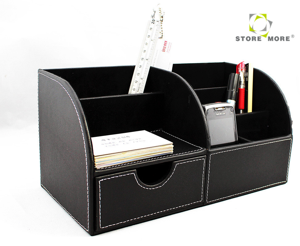 Oem black rectangular crocodile leather desk organizer - Black leather desk organizer ...
