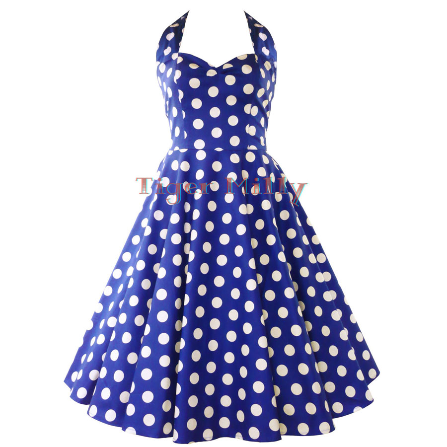 free shipping Fashion 50s vintage slim polka dot cotton ...