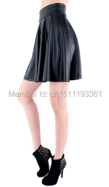 חדש גבוהה המותניים דמוי עור מחליק הזיקוק חצאית חצאית מיני מוצק חצאית S/M/L